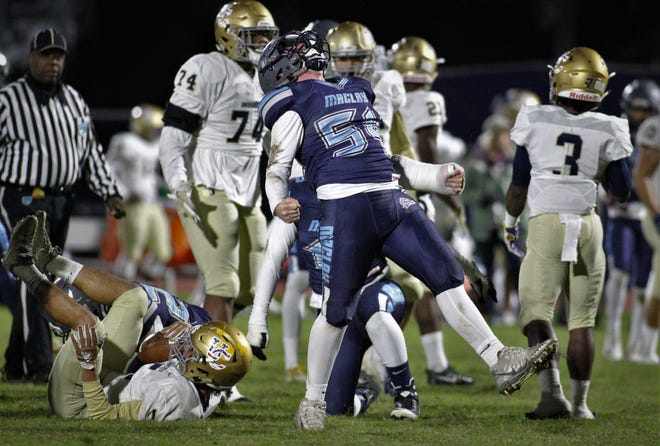 Maclay linebacker Harrison Tate celebrates a big tackle. Maclay fell 47-21 to University Christian during a Region 1-2A semifinal on Friday, Nov. 16, 2018.