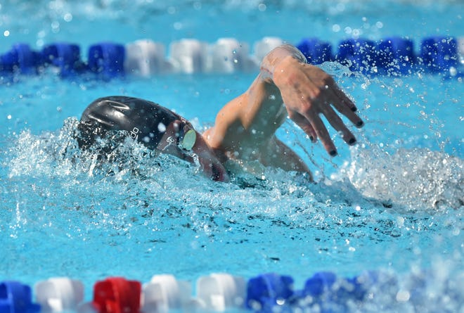Sarah Evans, of Port St. Lucie High School, competes in the third heat of the Girls 50 Yard freestyle preliminary competition during the Florida High School Athletic Association Championship - Class 2A State swim meet at Sailfish Splash Waterpark on Saturday, Nov. 17, 2018, in Stuart.