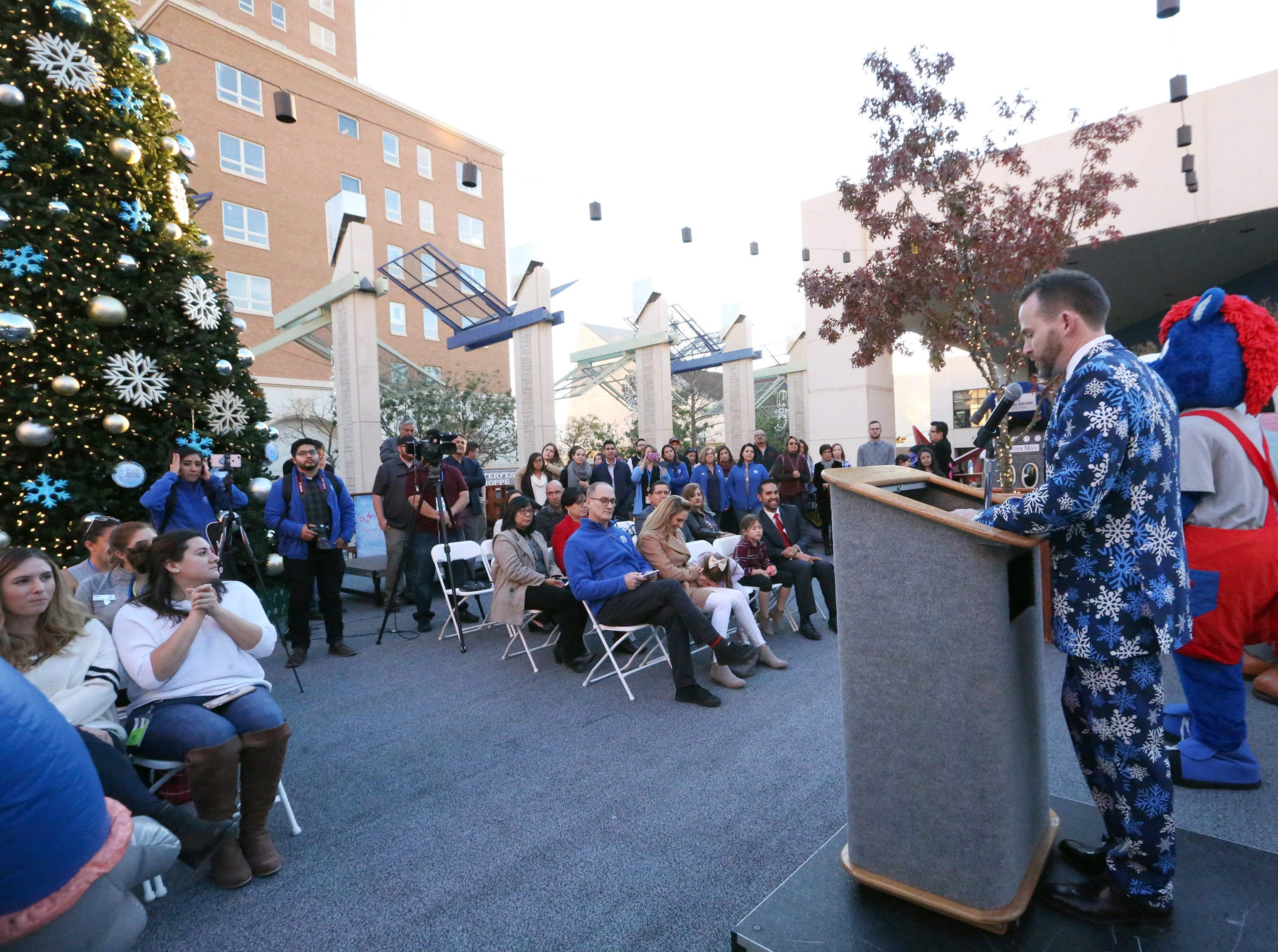 Bryan Crowe, general manager of Destination El Paso speaks at a 'Break The Ice' party and press conference Friday to celebrate the opening of the third season of WinterFest in downtown El Paso.