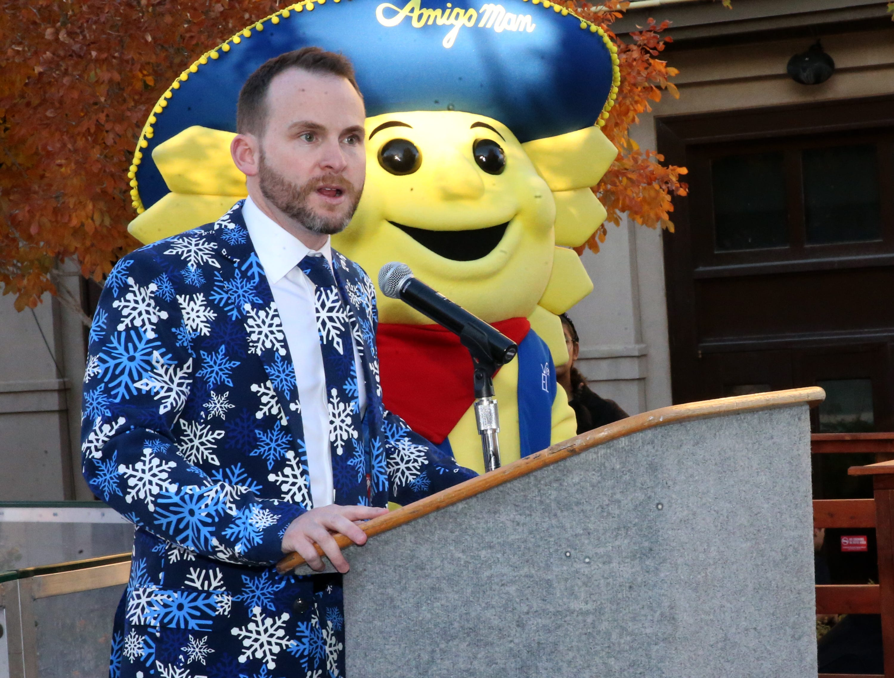 Bryan Crowe, general manager of Destination El Paso, starts a news conference on the opening of the third season of WinterFest on Friday at the Downtown Arts Festival Plaza.