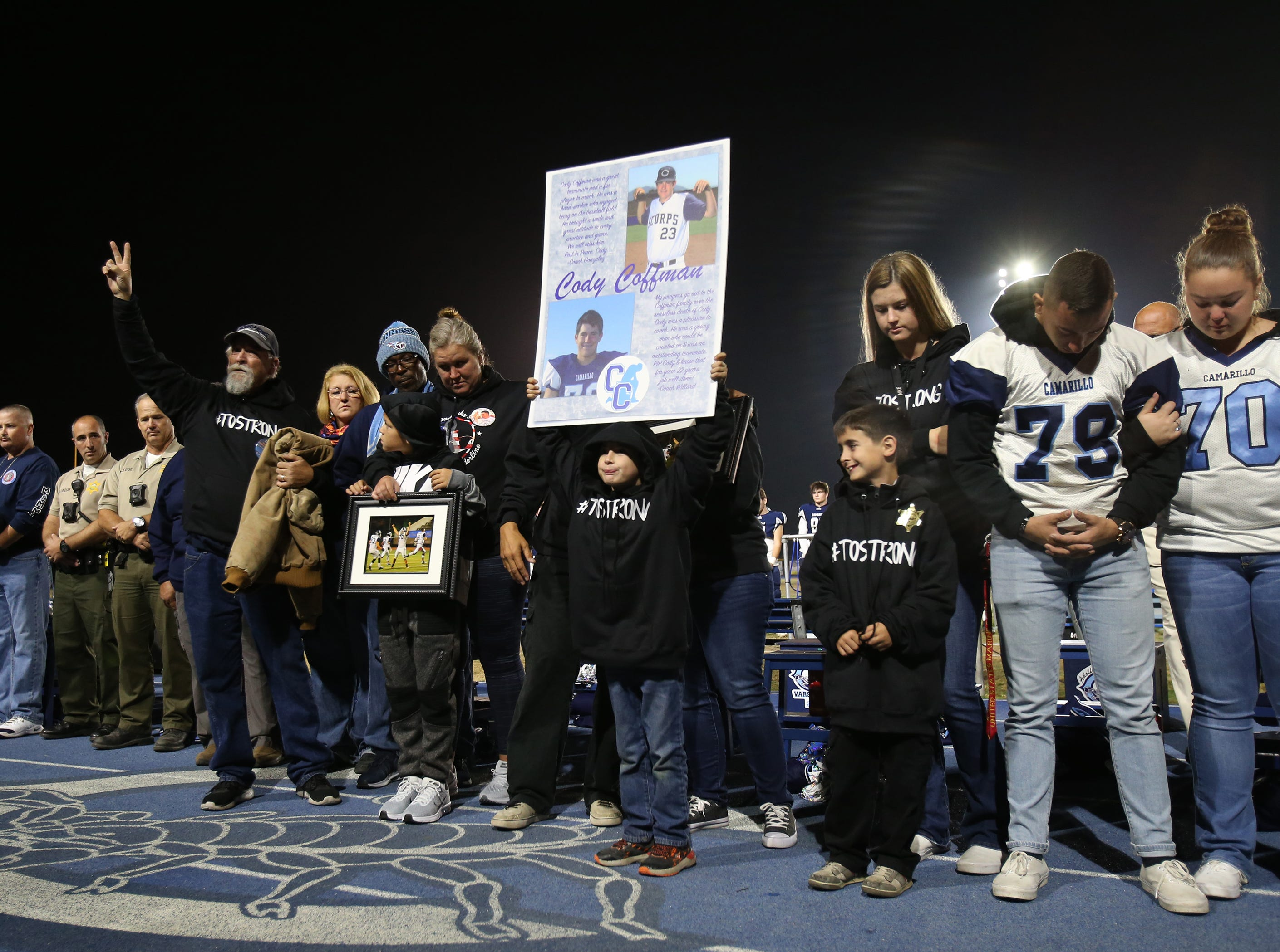 The family of Cody Gifford-Coffman was honored before Friday night's playoff game at Camarillo High on Friday night. Gifford-Coffman, who was killed during the mass shooting at the Borderline Bar & Grill in Thousand Oaks last week, was a former player and graduate of the school.
