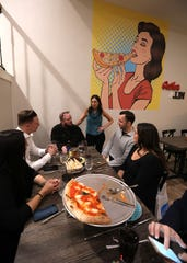 Lohud food reporter Jeanne Muchnick talks with guests during Dinner With Jeanne at the new Joe & Joe in Nyack Nov. 16, 2018.