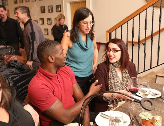 "Lohud food reporter Jeanne Muchnick chats with the Instagrammers behind flightsnfood at the Joe & Joe ""Dinner With Jeanne"" in Nyack Nov. 16, 2018."