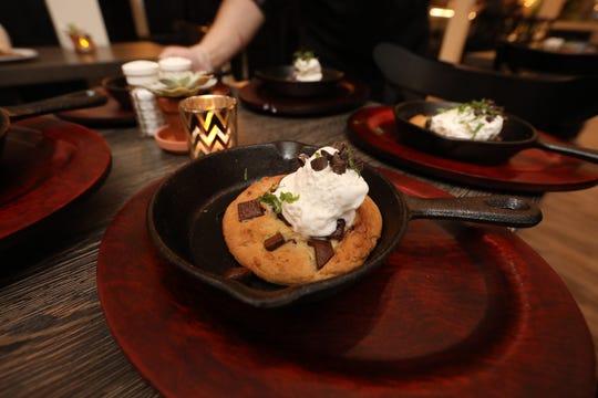 Skillet chocolate chip cookie with ice cream at Joe & Joe of Nyack.