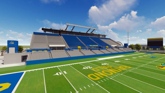 A rendering of the renovated West grandstand at Delaware Stadium.