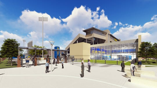A rendering looking toward Delaware Stadium and the Whitney Athletic Center from the northwest corner.