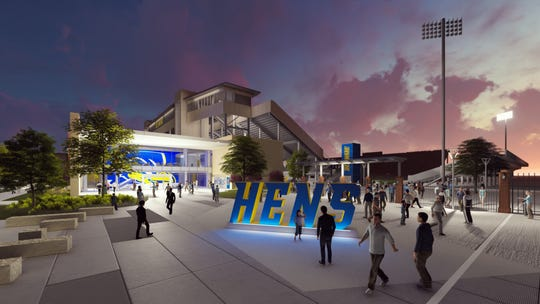 A rendering of the renovated Delaware Stadium and Whitney Athletic Center from the southwest corner.
