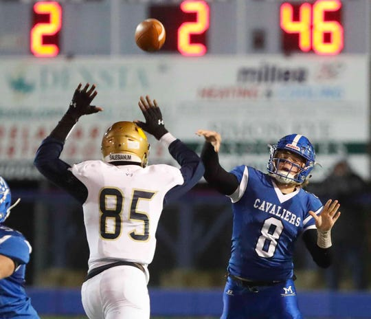 Middletown quarterback Drew Fry (8), shown here against Salesianum in the DIAA Division I playoffs, is on the Gold roster for the 64th annual DFRC Blue-Gold All-Star football game.