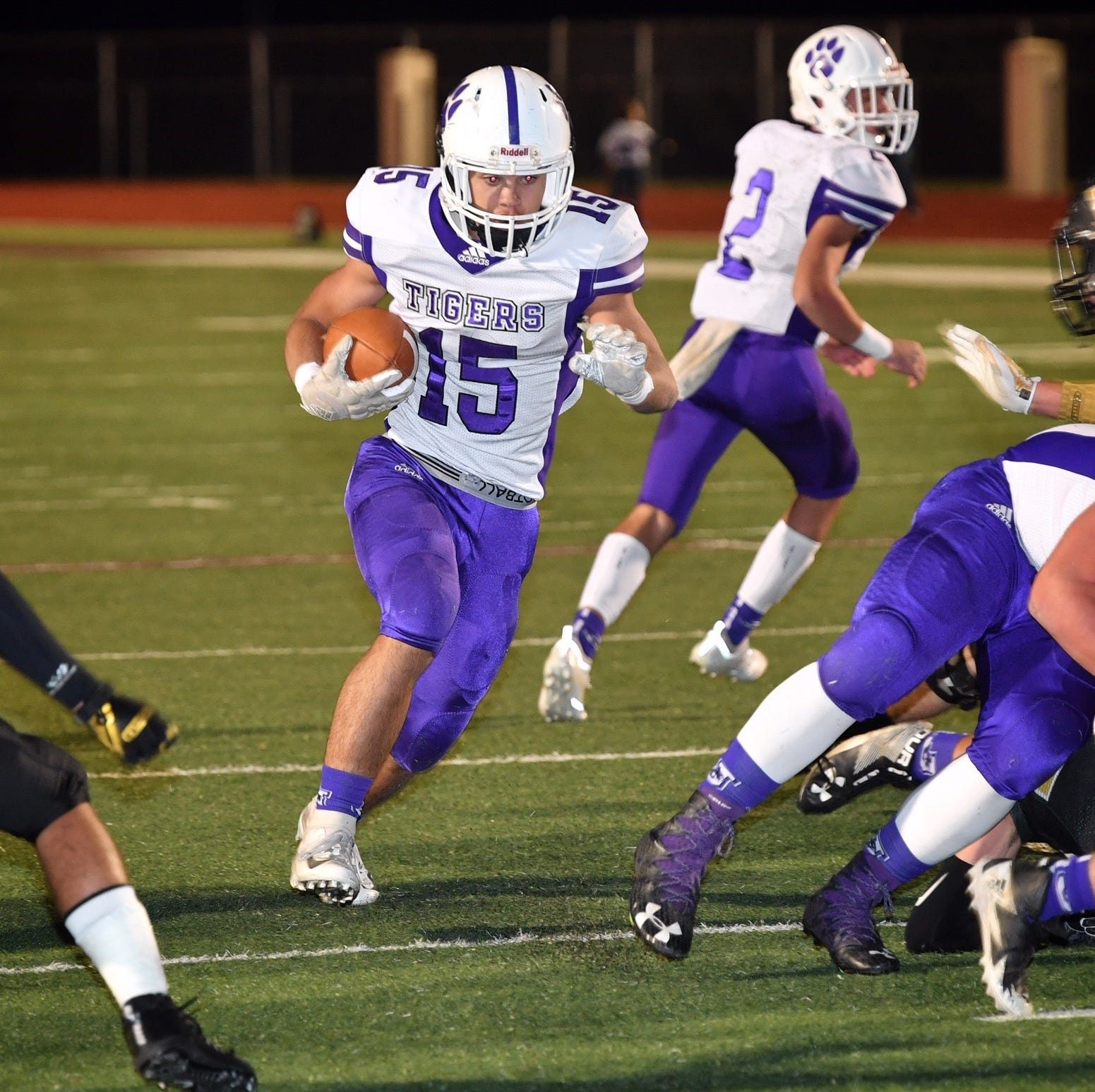 Jacksboro runningback Ethan Fudge (15) scored on this run against Henrietta Friday night during the first quarter of the 3A Division II Bi-District playoff in Bowie.