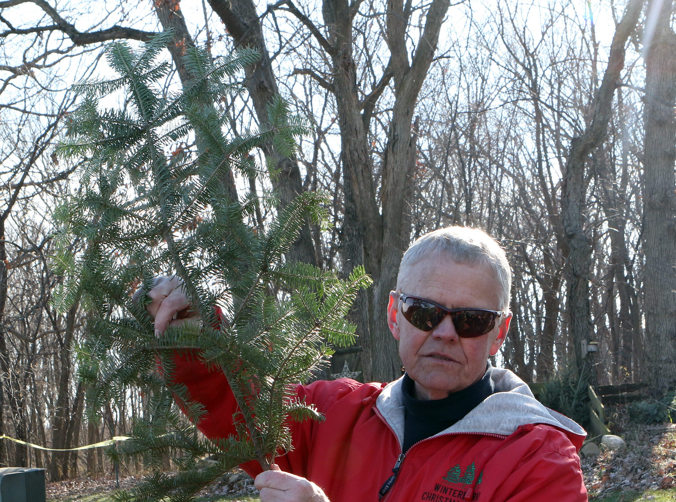 Greg Lancaster, owner of Winterberry Tree Farm in Brooklyn, teaches fourth and fifth grade students how to identify different types of evergreen trees by how the needles grow on the branch. Students visited the farm on Nov. 15 to learn about the Christmas tree industry.