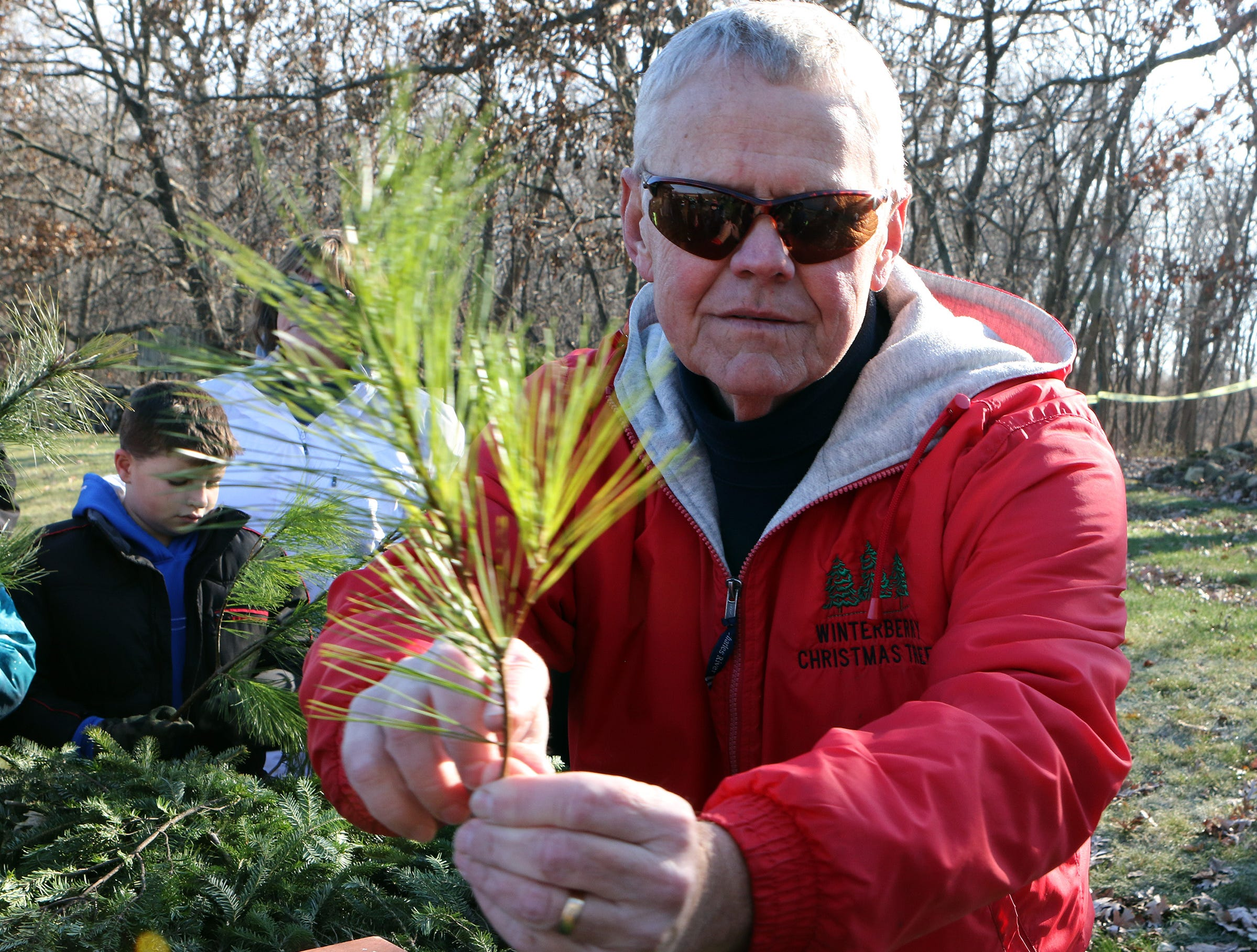 Greg Lancaster, owner of Lancaster's Winterberry Tree Farm in Brooklyn, shows fourth and fifth grade students how needles come off the branch on pine trees on Nov. 15. Students visited the farm to learn about the Christmas tree industry and to see Alice in Dairyland help cut a tree to mark the beginning of the 2018 Christmas tree season.