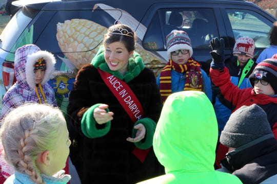 Alice in Dairyland, Kaitlyn Riley, talks with New Glarus fourth and fifth grade students at Lancaster's Winterberry Tree Farm in Brooklyn on Nov. 15. Students spent the morning learning about Wisconsin agriculture and the Christmas tree industry.