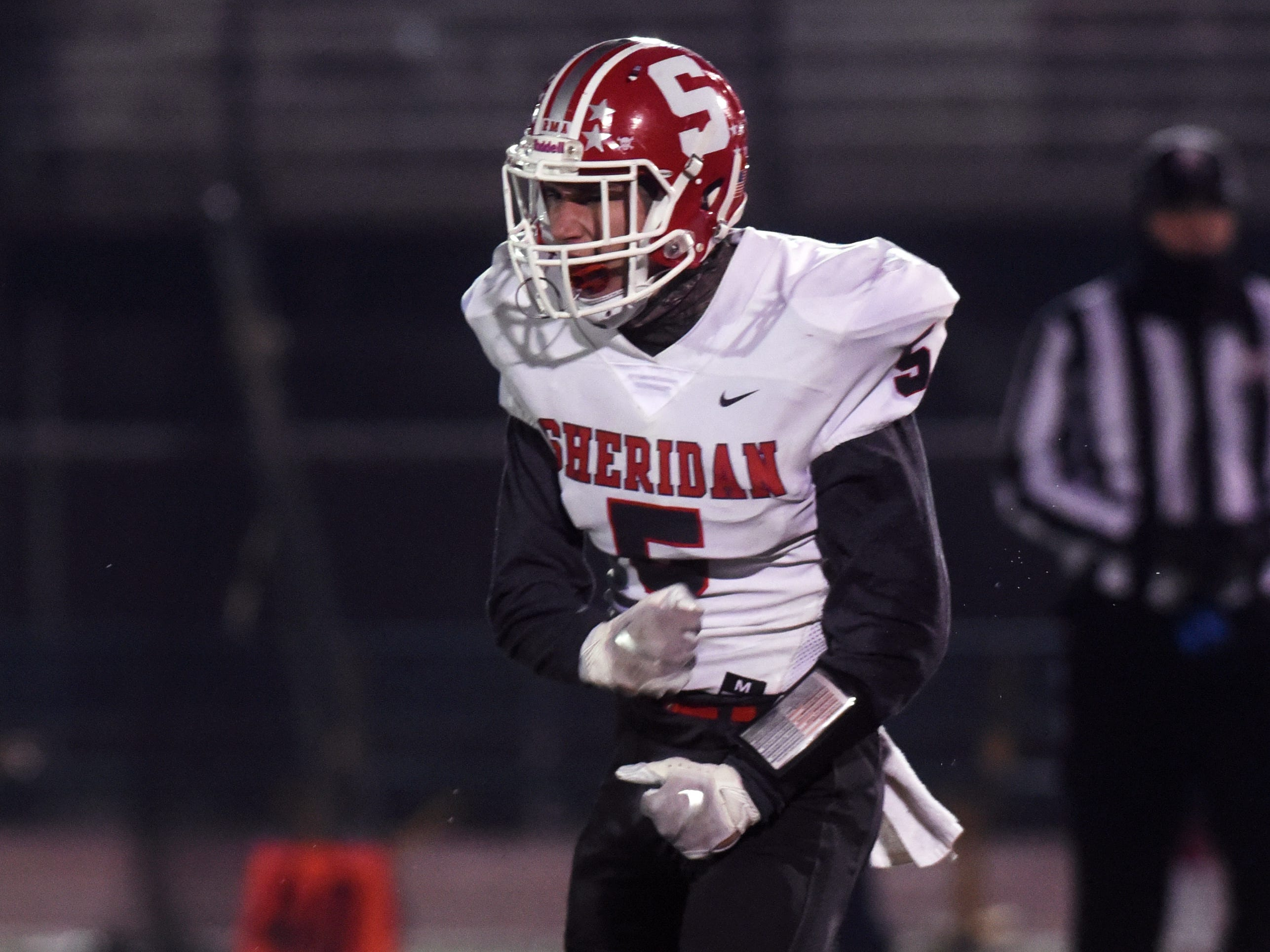 Shay Taylor celebrates a sack just before halftime during Sheridan's 20-14 loss to Columbus Eastmoor Academy in a Division III, Region 11 final on Friday night in Lancaster.