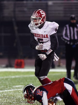 Shay Taylor celebrates a sack just before halftime during Sheridan's 20-14 loss to Columbus Eastmoor Academy in a Division III, Region 11 final last season in Lancaster. Taylor is expected to be a key player in the Generals' 2019 plans.