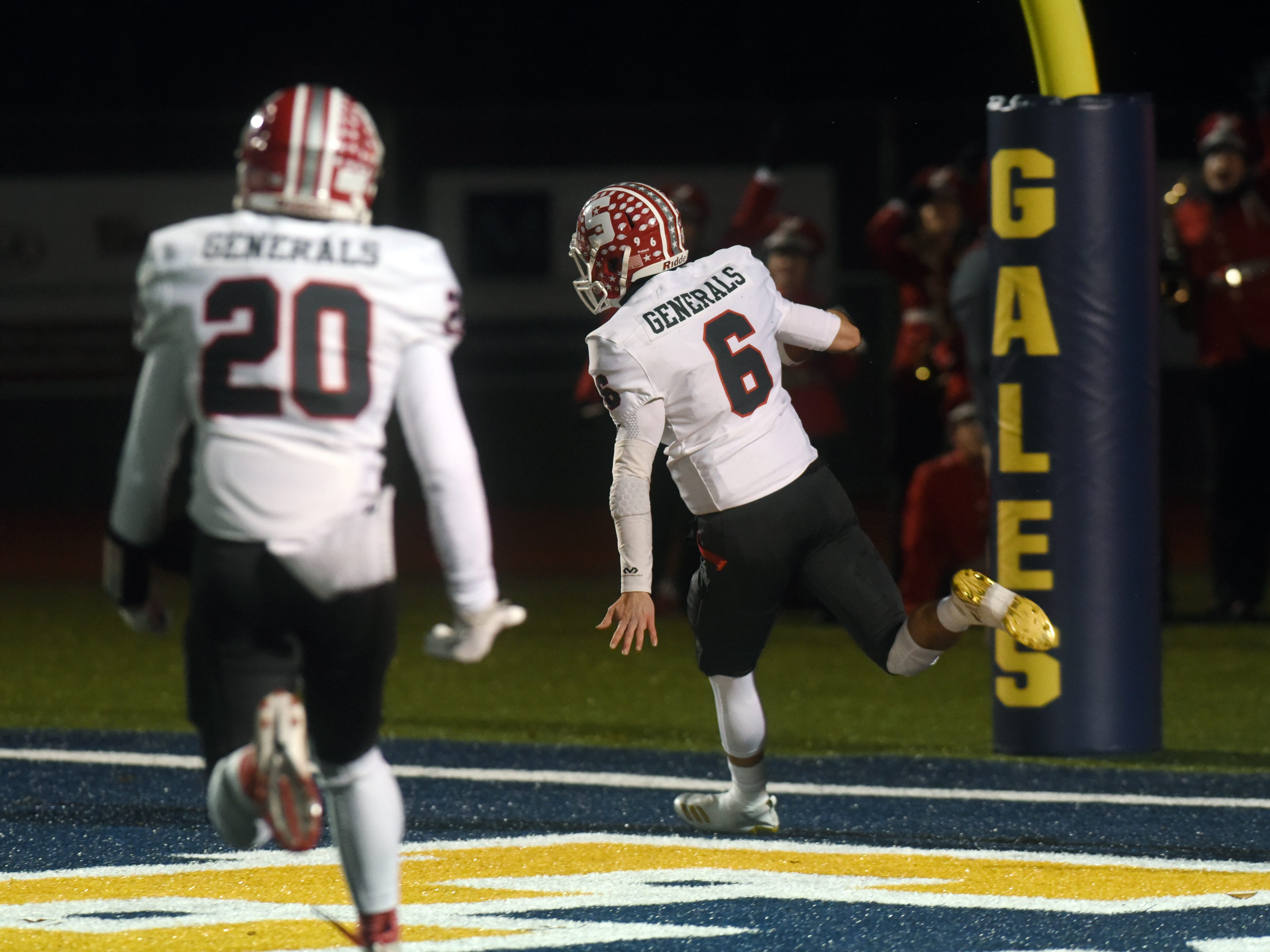 Ethan Heller celebrates in the end zone after scoring a touchdown in the first quarter of Sheridan's 20-14 loss to Columbus Eastmoor Academy in a Division III, Region 11 final on Friday night in Lancaster.