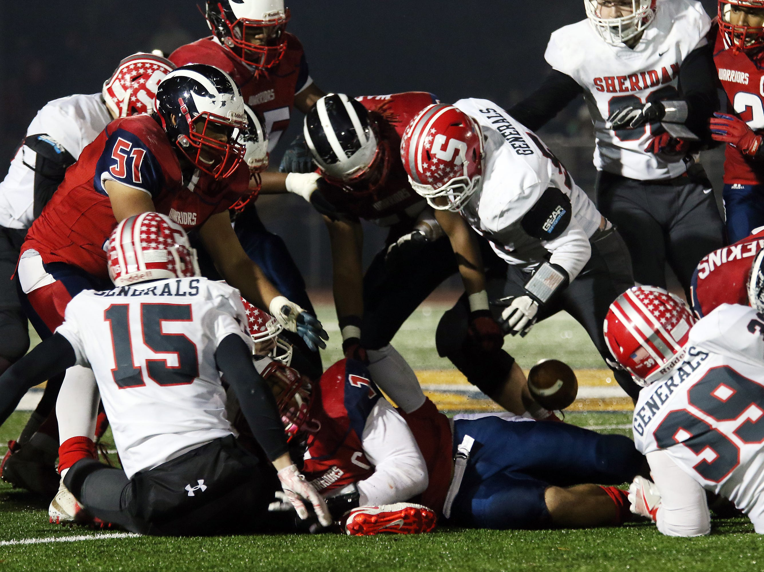 Sheridan forces a fumble against Eastmoor.