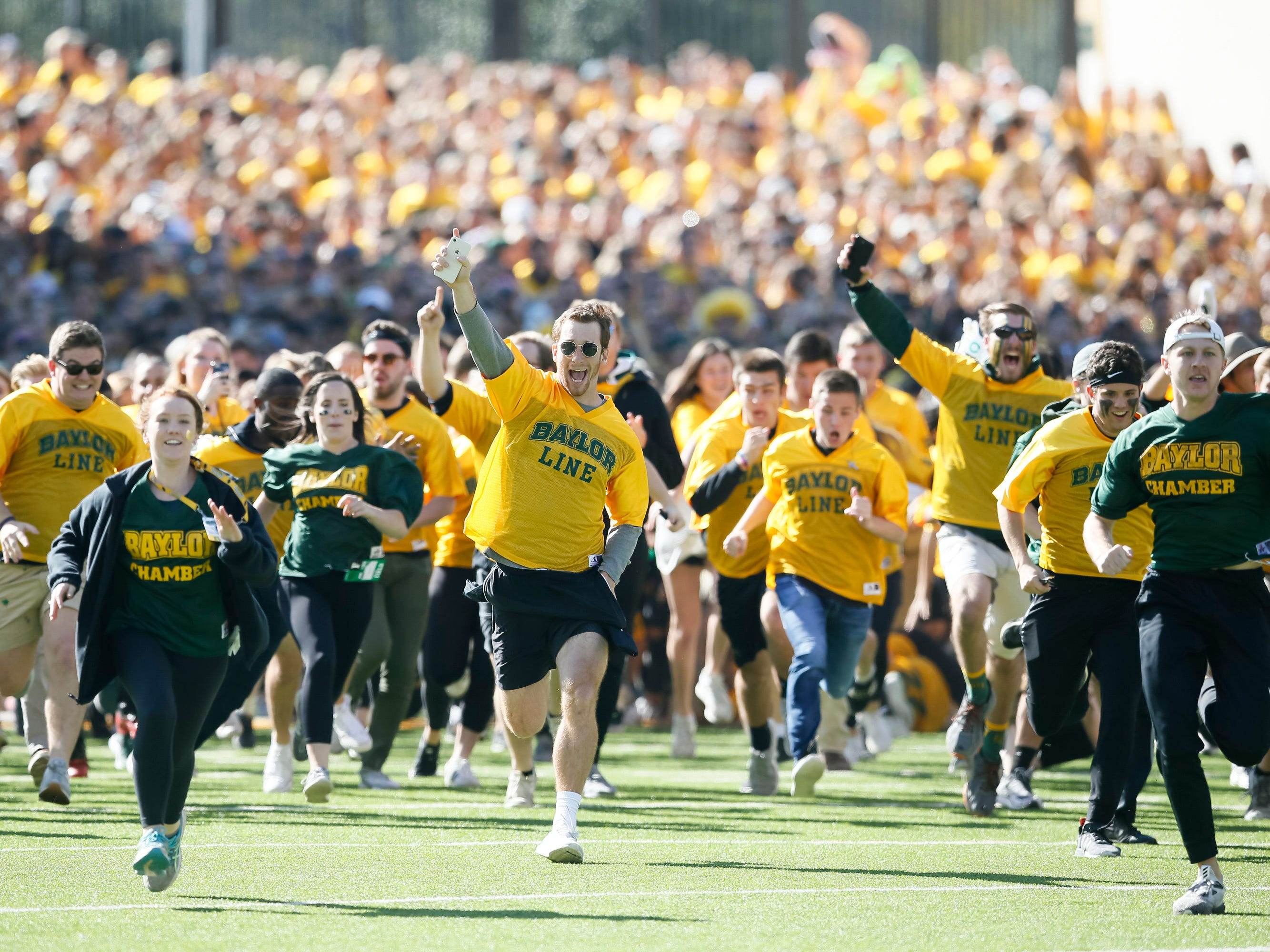 Week 12: The Baylor Line take the field prior to a game against the TCU Horned Frogs at McLane Stadium.