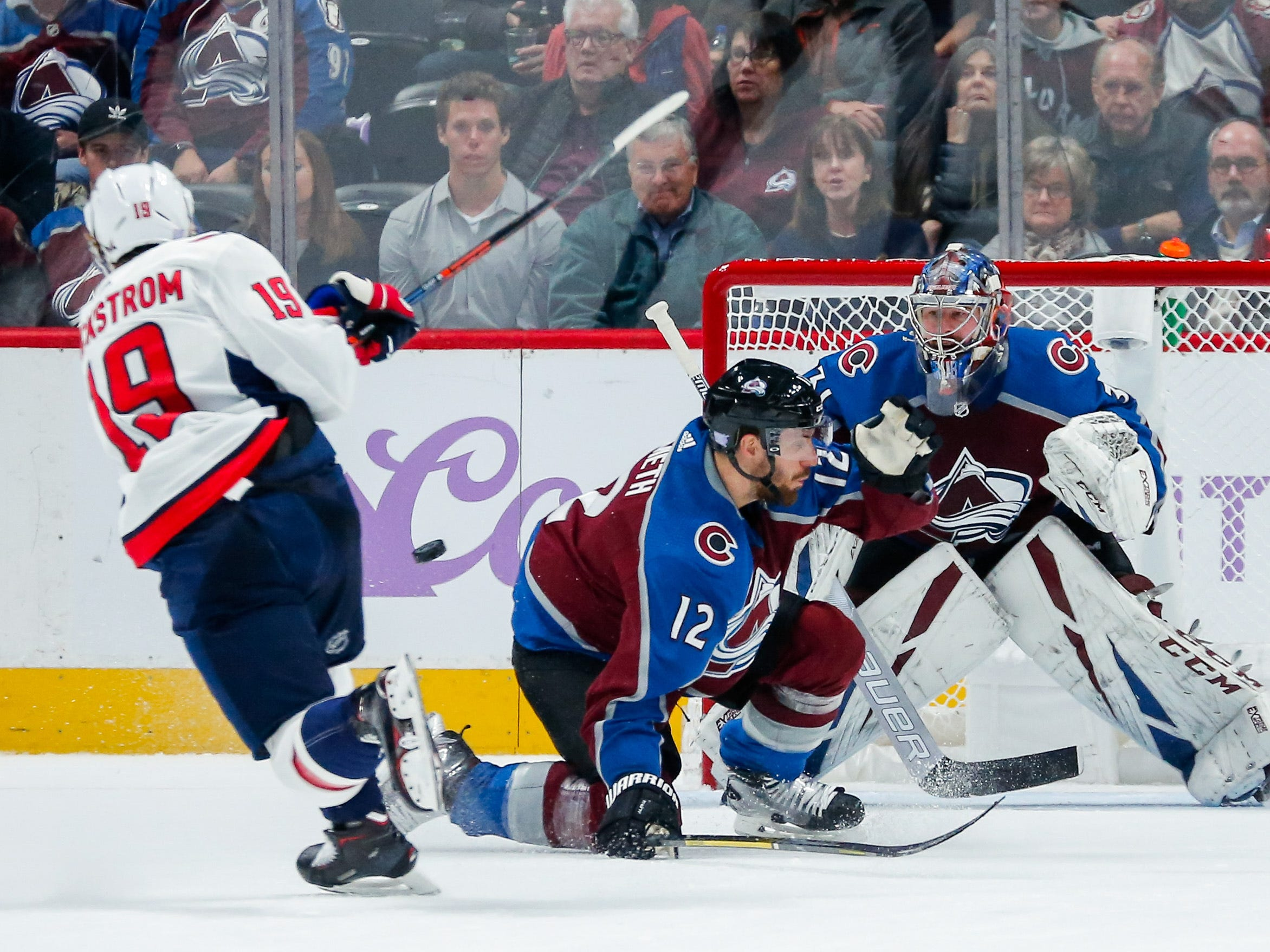 Nov. 16: Washington center Nicklas Backstrom scores against former Capitals goaltender Philipp Grubauer in overtime for a 3-2 win against the Colorado Avalanche.