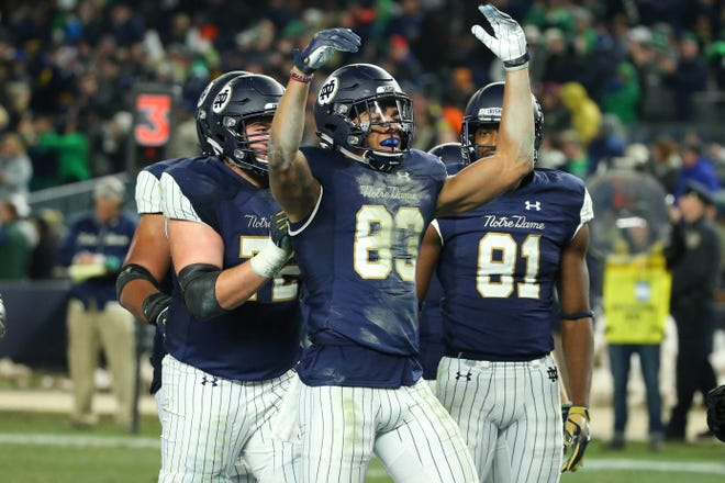Notre Dame WR Chase Claypool (83) celebrate his touchdown catch against the Syracuse in Yankee Stadium.