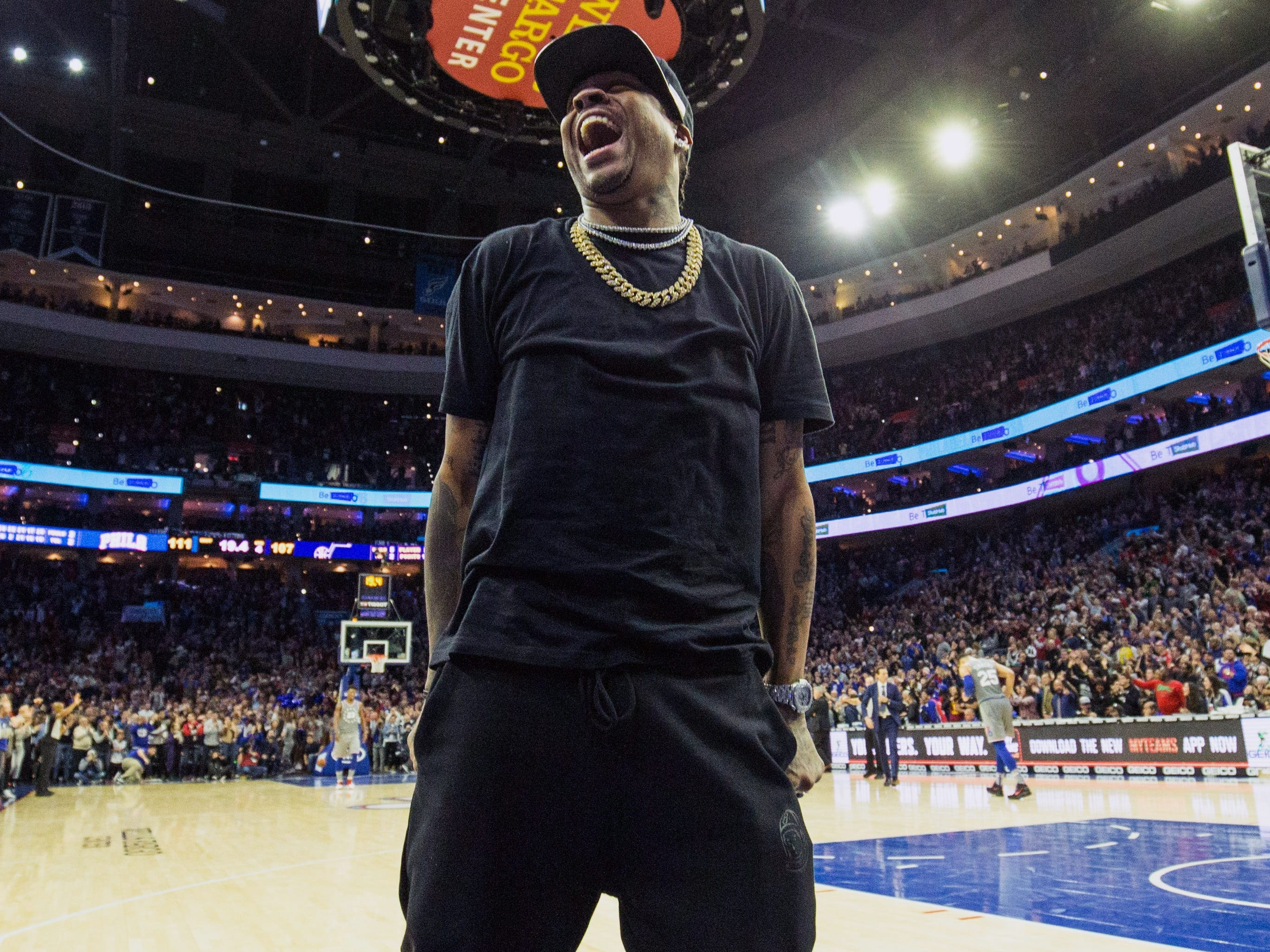 Nov. 16: Hall of Famer and 76ers legend Allen Iverson was fired up for Jimmy Butler's home debut in Philadelphia.