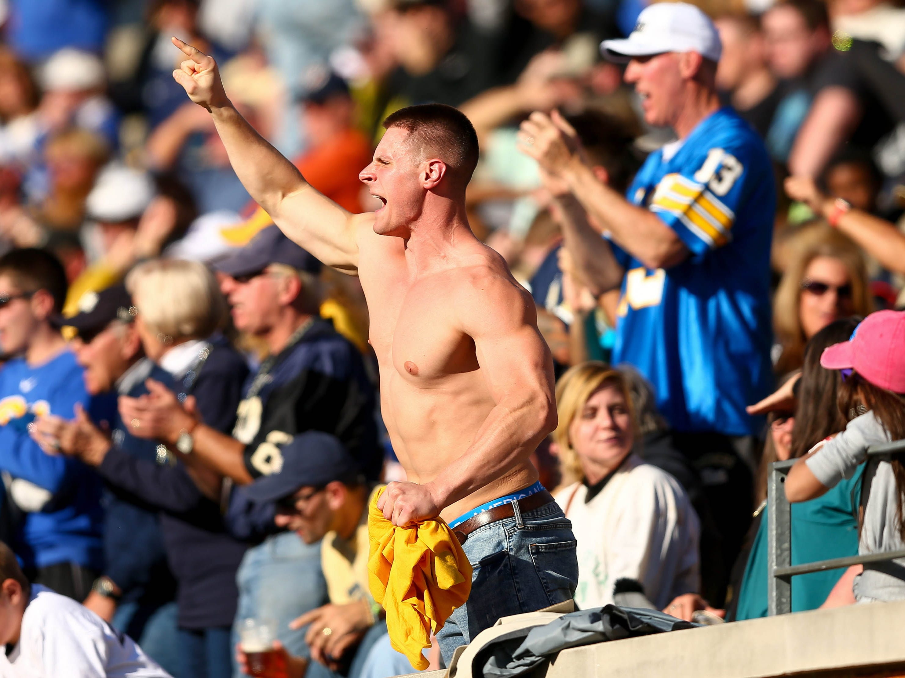 Week 12: A Pittsburgh Panthers fan cheers on his team against the Wake Forest Demon Deacons.