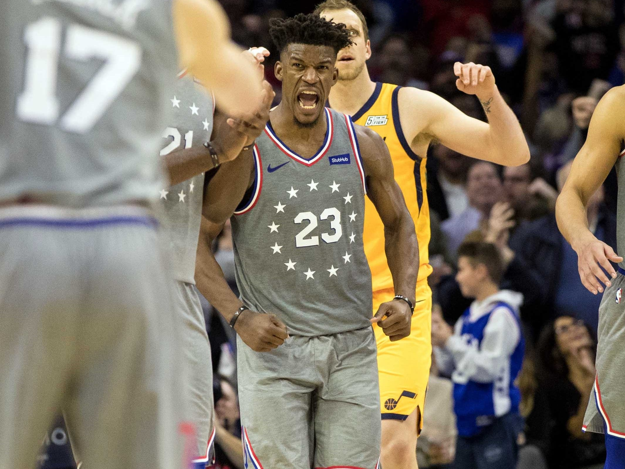 Nov. 16: Jimmy Butler gets fired up after a fourth-quarter bucket during his 76ers home debut against the Jazz in Philadelphia.