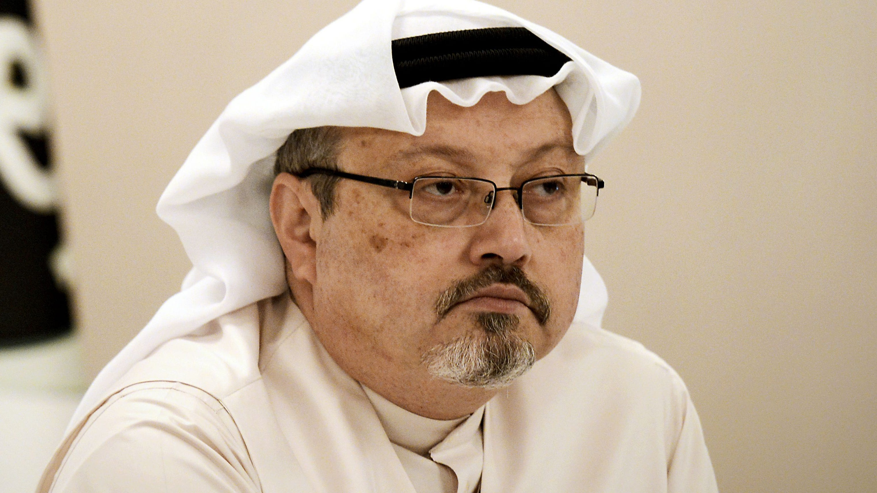 In this file photo taken on December 15, 2014 A general manager of Alarab TV, Jamal Khashoggi, looks on during a press conference in the Bahraini capital Manama.