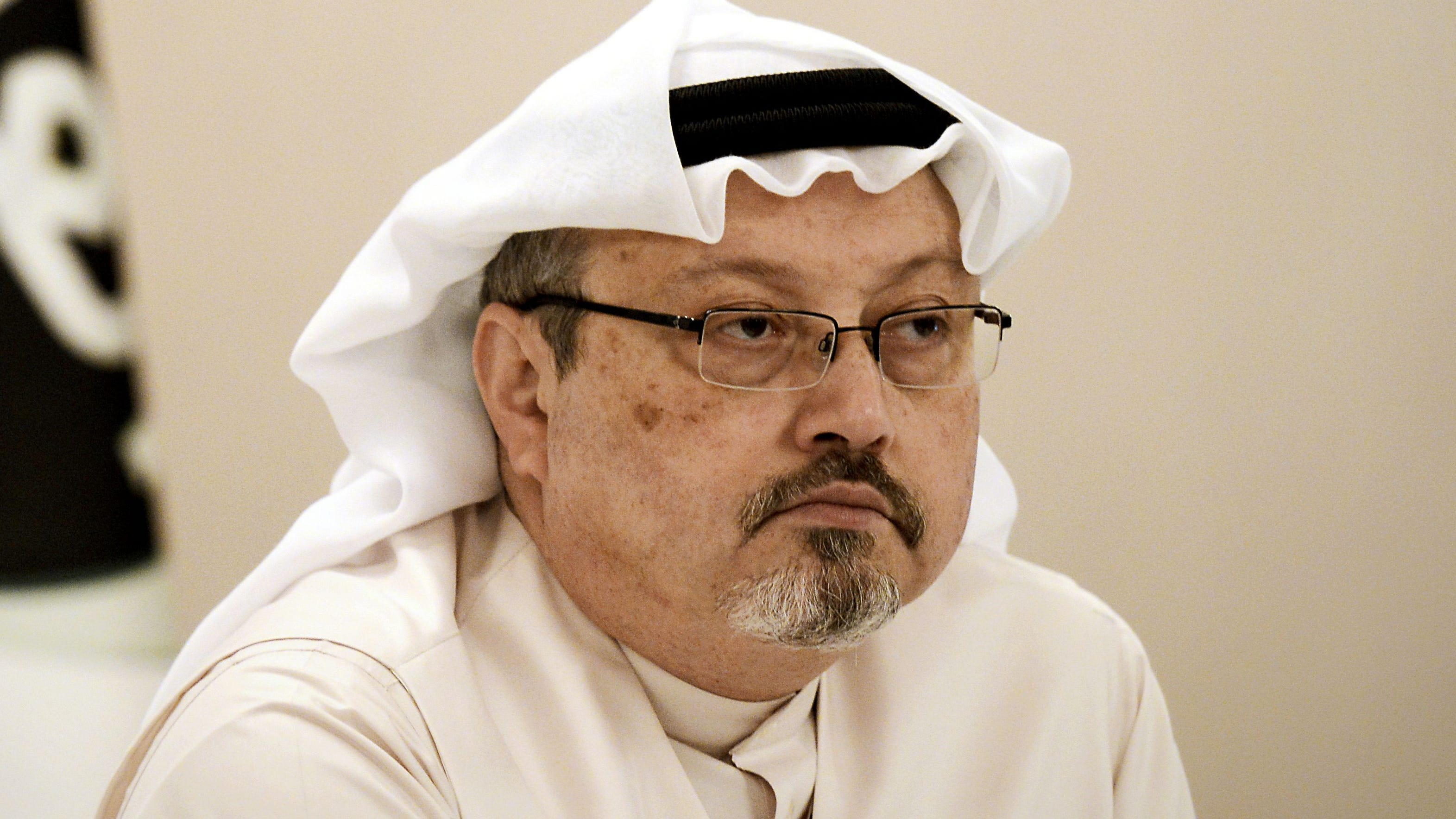 In this photo taken Dec. 15, 2014, Jamal Khashoggi looks on during a press conference in the Bahraini capital of Manama.