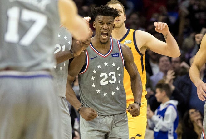 Jimmy Butler scored a team-high 28 points in his 76ers home debut.