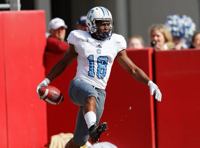 The Citadel Bulldogs' Dante Smith reacts after scoring a touchdown against Alabama.