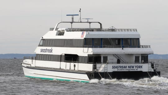 A SeaStreak ferry like this one saved four people from the cold waters off Sandy Hook on Saturday.