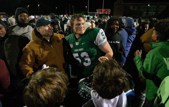 Kevin Cerruti celebrates after Long Branch's victory over Brick in the NJSIAA Central Group IV final.