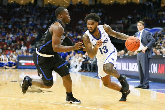 Seton Hall's Myles Powell drives against St. Louis