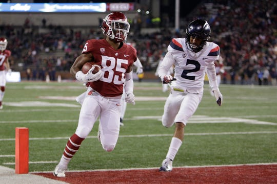 Washington State wide receiver Calvin Jackson Jr. during the Cougars' win Saturday in Pullman.