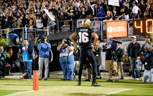 UCF receiver Tre Nixon, a Viera High graduate, has helped UCF move its unbeaten streak to 23 games.