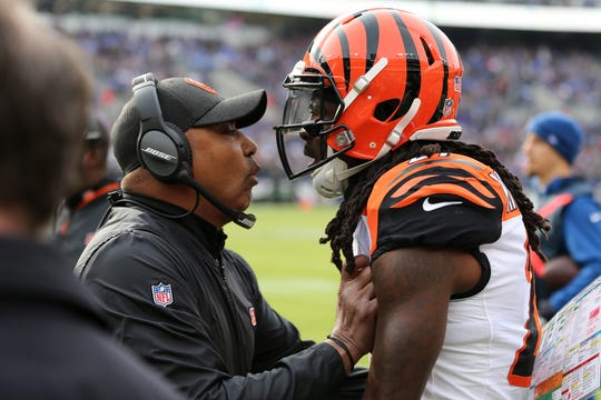 Cincinnati Bengals head coach Marvin Lewis instructs Cincinnati Bengals cornerback Dre Kirkpatrick (27) after he was penalized in the first quarter of an NFL football game, Sunday, Nov. 18, 2018, at M&T Bank Stadium in Baltimore.