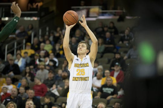 Northern Kentucky Norse guard Bryant Mocaby (25) shoots during the NCAA men's basketball game between Northern Kentucky Norse and Manhattan Jaspers in the Northern Kentucky Basketball Classic tournament on Saturday, Nov. 17, 2018, at NKU's BB&T Arena in Highland Heights, Ky.