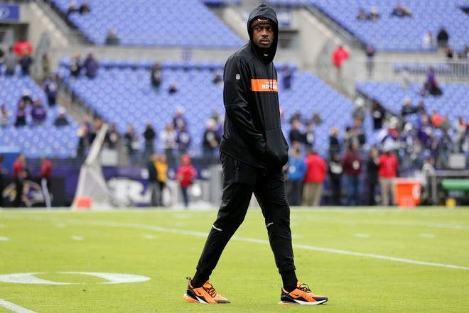 Cincinnati Bengals wide receiver A.J. Green (18), who was ruled out, walks on the field during warm ups before an NFL football game, Sunday, Nov. 18, 2018, at M&T Bank Stadium in Baltimore.