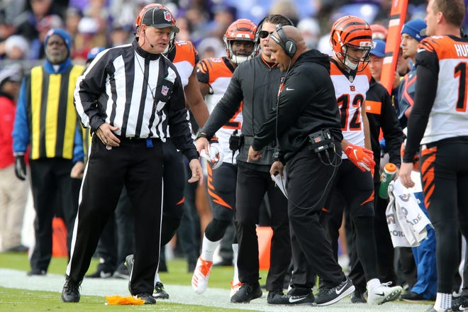 Cincinnati Bengals special assistant to the head coach Hue Jackson argues with an official in the second quarter of an NFL football game,Sunday, Nov. 18, 2018, at M&T Bank Stadium in Baltimore.