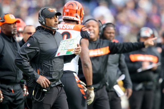 Cincinnati Bengals head coach Marvin Lewis calls the defensive play in the second quarter of an NFL football game,Sunday, Nov. 18, 2018, at M&T Bank Stadium in Baltimore.