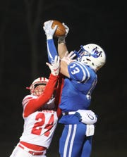 Wyoming wide receiver Joey Edmonds catches a touchdown pass during the Cowboys regional championship win over London , Saturday, Nov.17,2018.