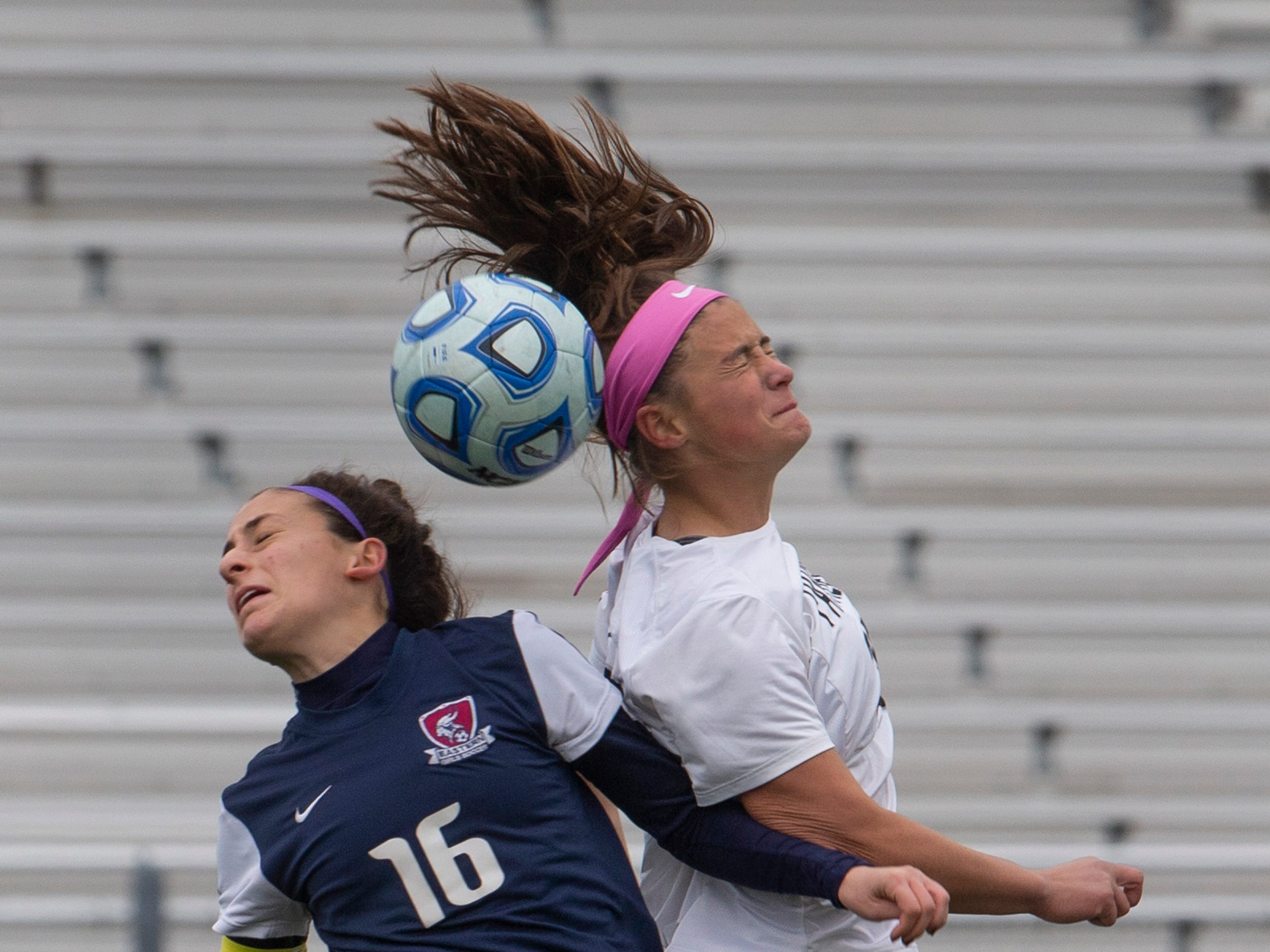 Eastern's Tori Accardo and Bridewater's Allison Lowrey battle for a header during second half action. Bridgewater-Raritan vs. Eastern girls soccer in the NJSIAA Group IV final at Kean University.