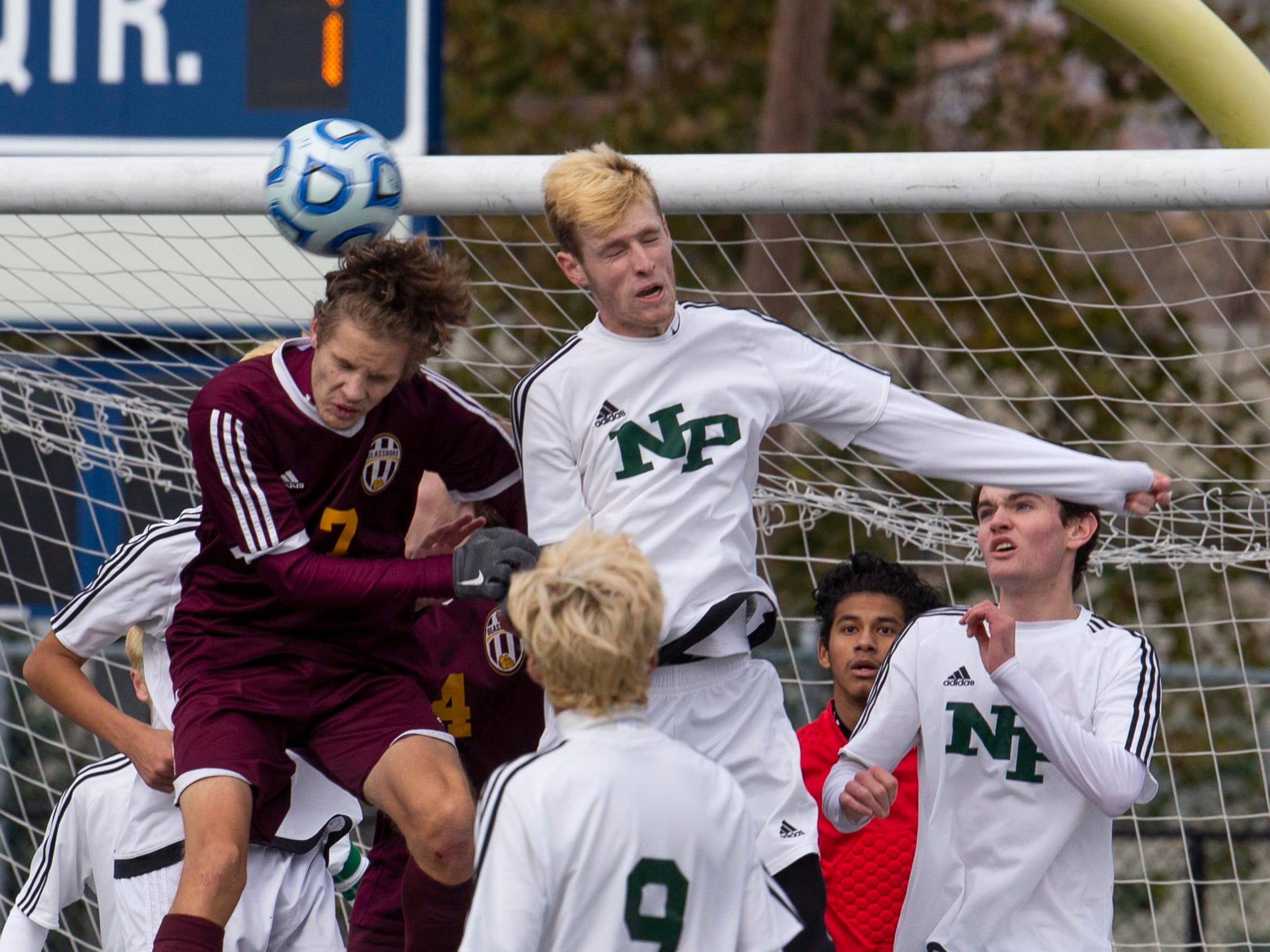 New Providence players protect their goal during regulation play. New Providence vs. Glassboro in Boys Group I Soccer in Union NJ.