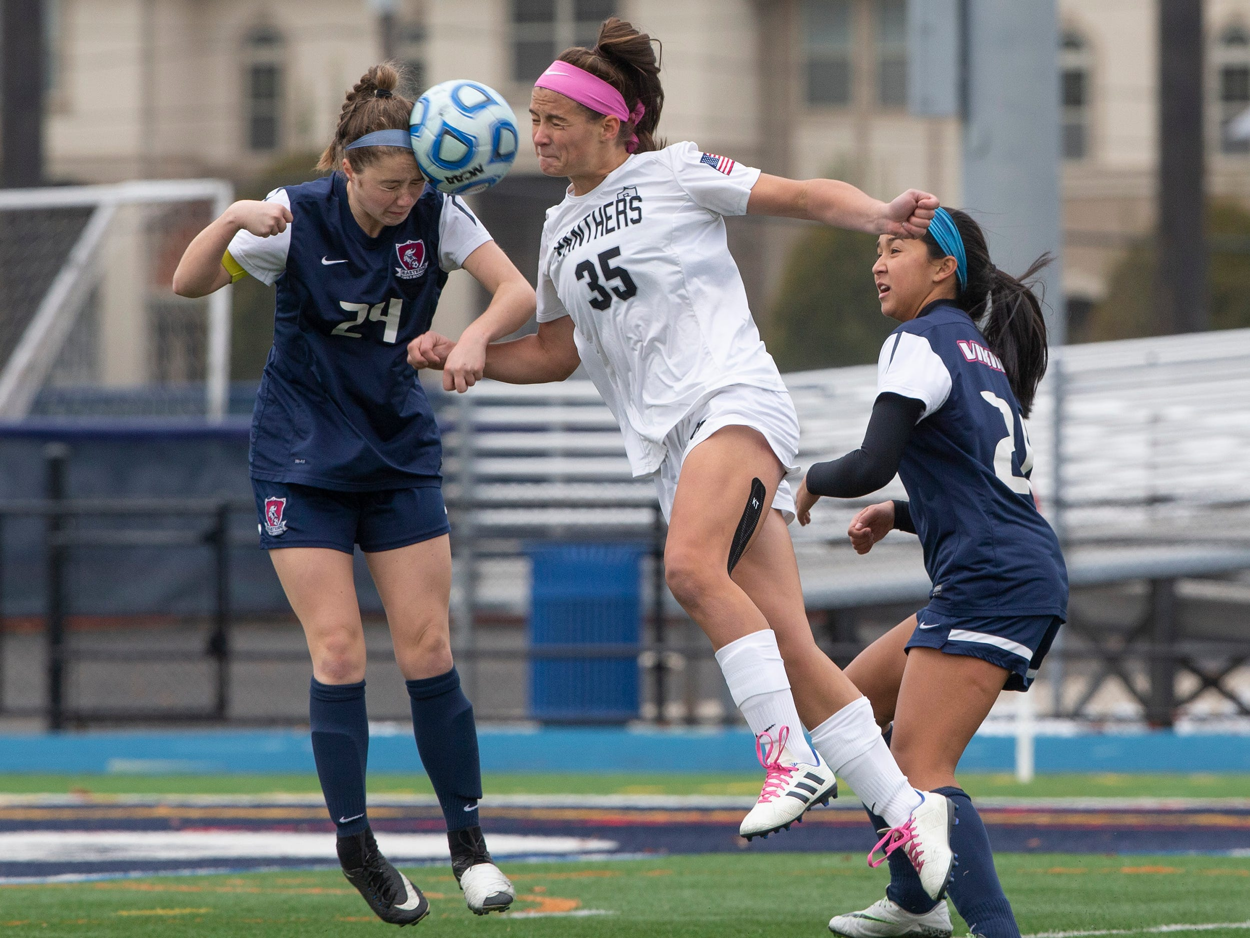 Eastern's Christina Dai and Bridgewater's Allison Lowrey battle for a header during second half action.Bridgewater-Raritan vs. Eastern girls soccer in the NJSIAA Group IV final at Kean University.