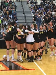 The North Hunterdon girls volleyball team comes together at the TOC semifinal.