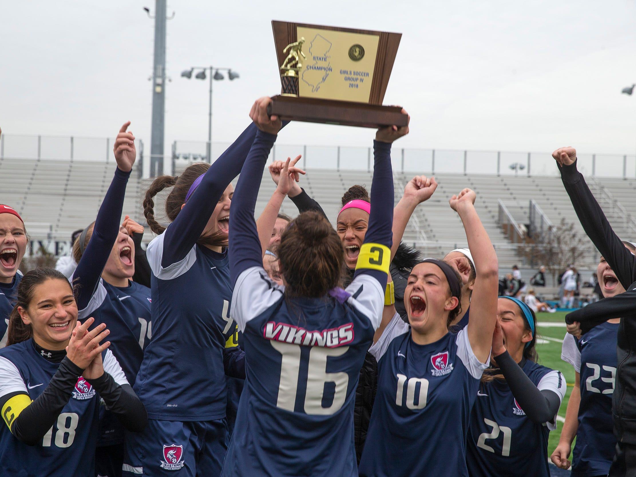 Eastern celebrates their Group IV championship. Bridgewater-Raritan vs. Eastern girls soccer in the NJSIAA Group IV final at Kean University.