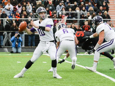 Rumson-Fair Haven quarterback Colin Coles throws a pass during the first half of the Central Group III final on Sunday, Nov. 18, 2018.