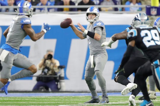 Detroit Lions quarterback Matthew Stafford passes against the Carolina Panthers during the second half on Sunday, November 18, 2018 at Ford Field.