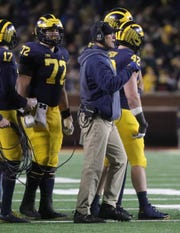 Jim Harbaugh on the sideline during the second half against Indiana.