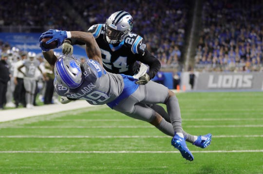 Kenny Golladay makes the winning TD catch against Panthers cornerback James Bradberry in the second half Sunday at Ford Field.